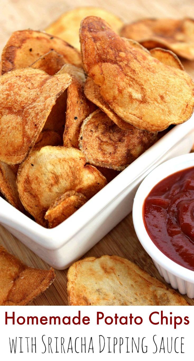 homemade potato chips sriracha dipping sauce