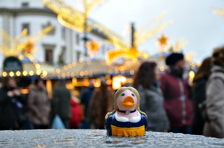 The Lufthansa duck at the Christmas Markets in Germany