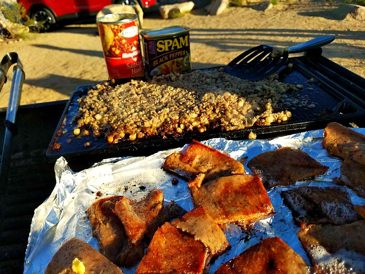 Cooking Hormel sausage and Spam at Joshua Tree