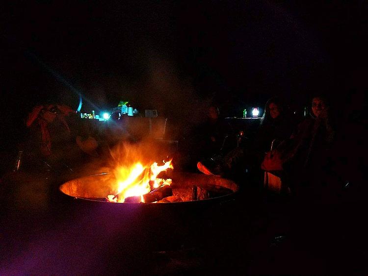 A campfire at Joshua Tree