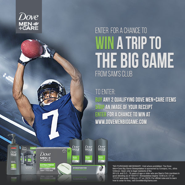 Dove Men+Care andSam's Club Big Game Sweepstakes